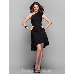 Australia Formal Dresses Cocktail Dress Party Dress Holiday Prom Dress Black Plus Sizes Dresses Petite A Line Sexy One Shoulder Asymmetrical Satin